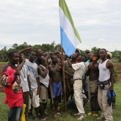 Raising the Sierra Leone Flag at AYM Mobimbi Gardens